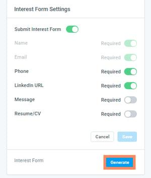 Interest Form Settings